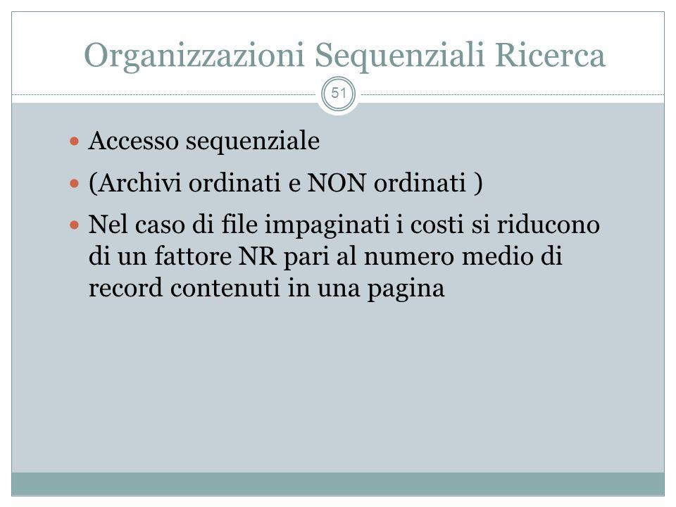 Organizzazioni Sequenziali Ricerca 51 Accesso sequenziale (Archivi ordinati e NON ordinati ) Nel caso di file impaginati i costi si riducono di un fattore NR pari al numero medio di record contenuti in una pagina