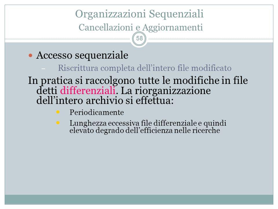 Organizzazioni Sequenziali Cancellazioni e Aggiornamenti 58 Accesso sequenziale – Riscrittura completa dellintero file modificato In pratica si raccolgono tutte le modifiche in file detti differenziali.