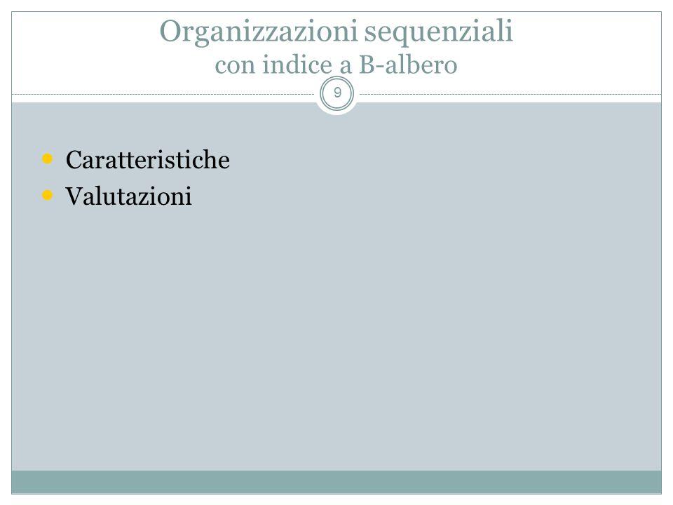 Organizzazioni sequenziali con indice a B-albero 9 Caratteristiche Valutazioni