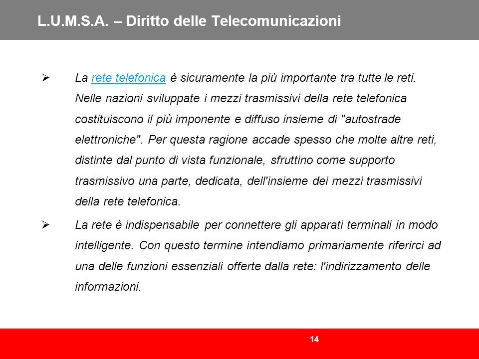 14 L.U.M.S.A. – Diritto delle Telecomunicazioni La rete telefonica è sicuramente la più importante tra tutte le reti. Nelle nazioni sviluppate i mezzi