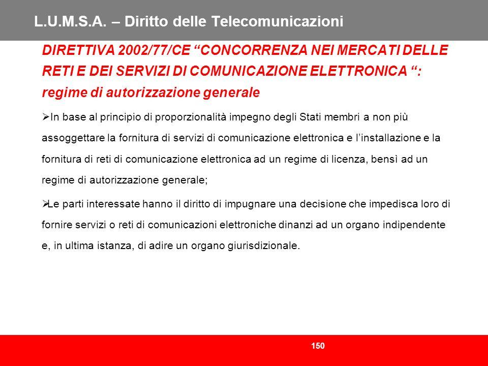 150 L.U.M.S.A. – Diritto delle Telecomunicazioni DIRETTIVA 2002/77/CE CONCORRENZA NEI MERCATI DELLE RETI E DEI SERVIZI DI COMUNICAZIONE ELETTRONICA :