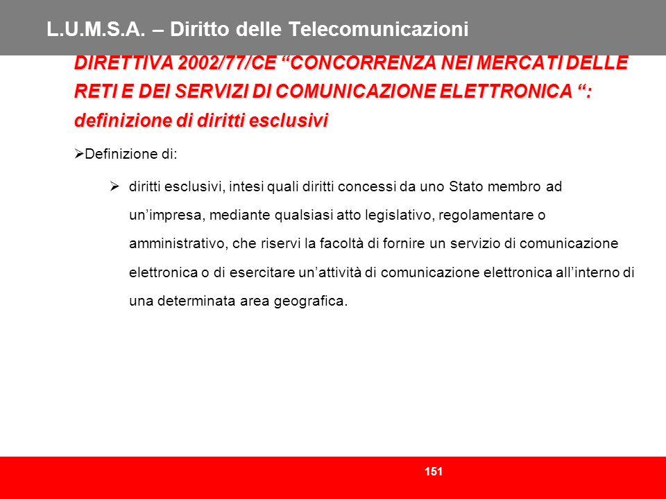151 L.U.M.S.A. – Diritto delle Telecomunicazioni DIRETTIVA 2002/77/CE CONCORRENZA NEI MERCATI DELLE RETI E DEI SERVIZI DI COMUNICAZIONE ELETTRONICA :