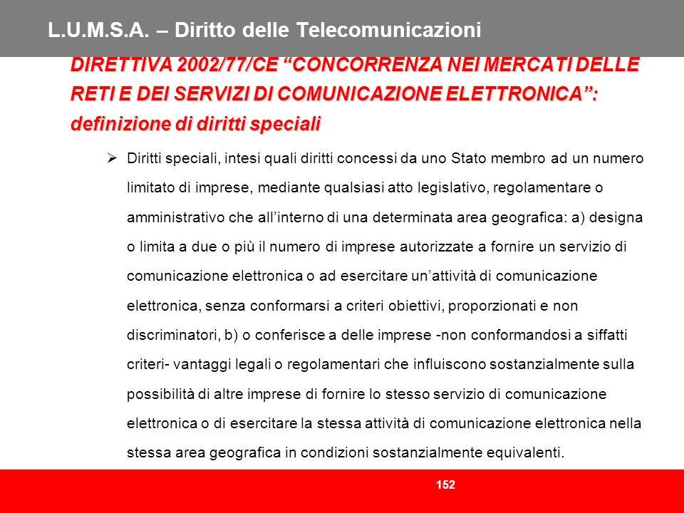 152 L.U.M.S.A. – Diritto delle Telecomunicazioni DIRETTIVA 2002/77/CE CONCORRENZA NEI MERCATI DELLE RETI E DEI SERVIZI DI COMUNICAZIONE ELETTRONICA: d