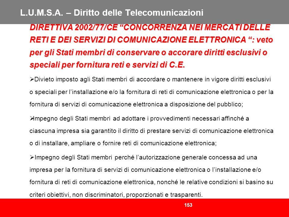 153 L.U.M.S.A. – Diritto delle Telecomunicazioni DIRETTIVA 2002/77/CE CONCORRENZA NEI MERCATI DELLE RETI E DEI SERVIZI DI COMUNICAZIONE ELETTRONICA :