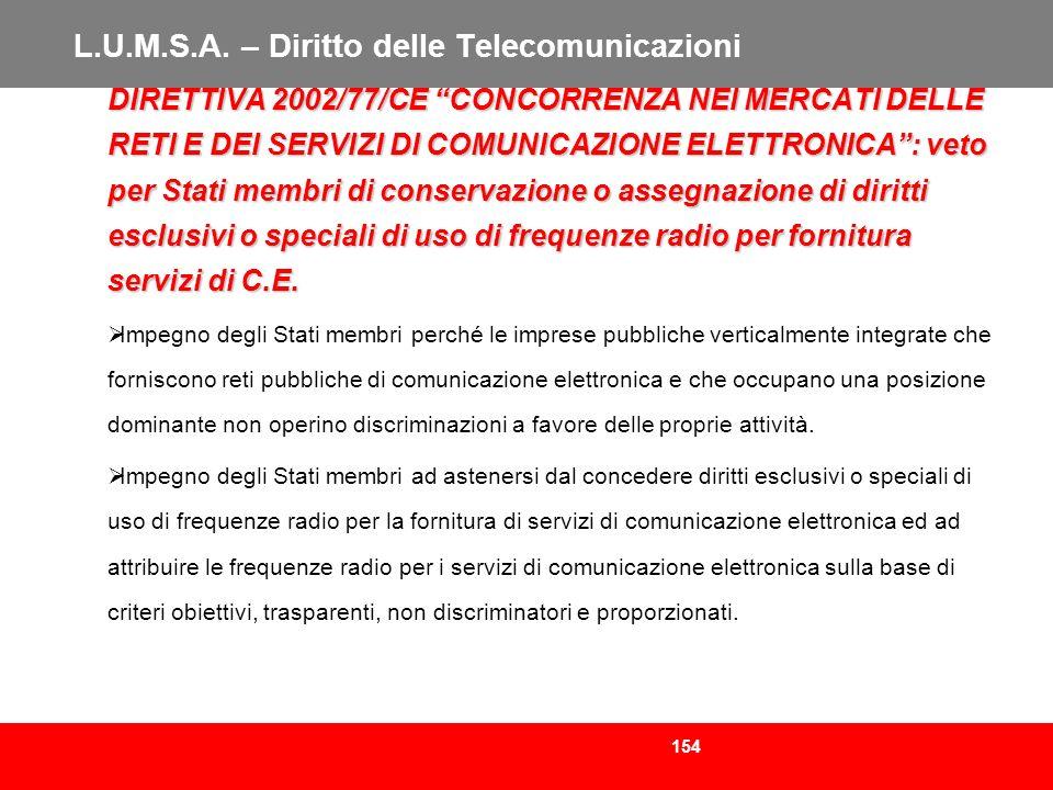 154 L.U.M.S.A. – Diritto delle Telecomunicazioni DIRETTIVA 2002/77/CE CONCORRENZA NEI MERCATI DELLE RETI E DEI SERVIZI DI COMUNICAZIONE ELETTRONICA: v