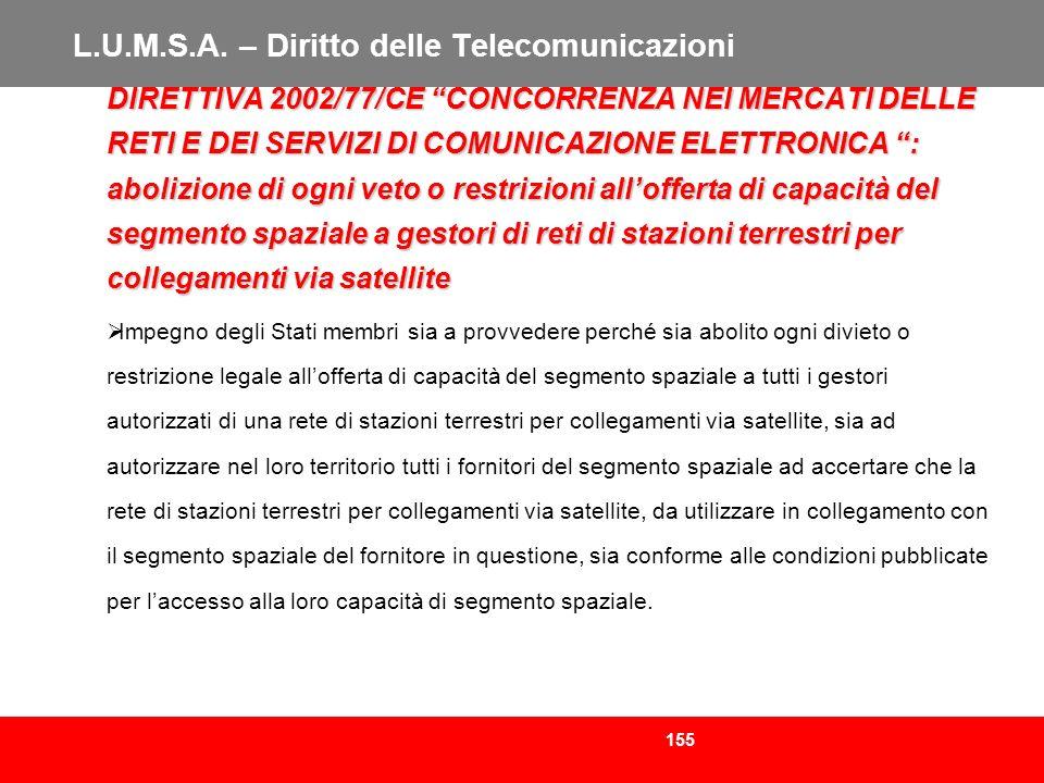 155 L.U.M.S.A. – Diritto delle Telecomunicazioni DIRETTIVA 2002/77/CE CONCORRENZA NEI MERCATI DELLE RETI E DEI SERVIZI DI COMUNICAZIONE ELETTRONICA :