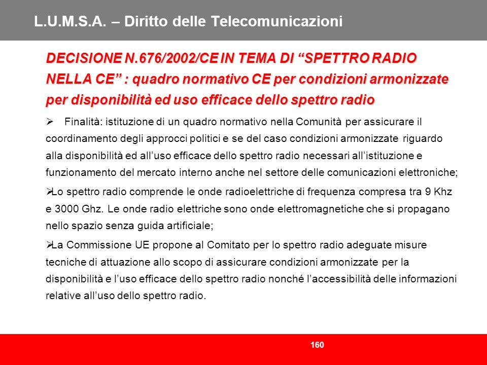 160 L.U.M.S.A. – Diritto delle Telecomunicazioni DECISIONE N.676/2002/CE IN TEMA DI SPETTRO RADIO NELLA CE : quadro normativo CE per condizioni armoni