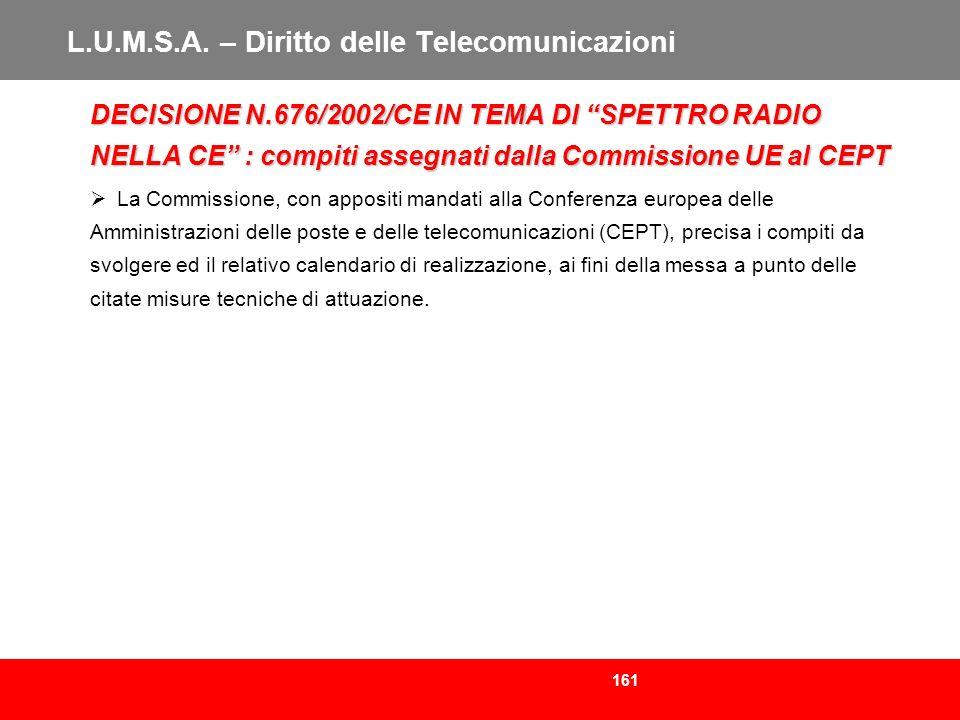 161 L.U.M.S.A. – Diritto delle Telecomunicazioni DECISIONE N.676/2002/CE IN TEMA DI SPETTRO RADIO NELLA CE : compiti assegnati dalla Commissione UE al