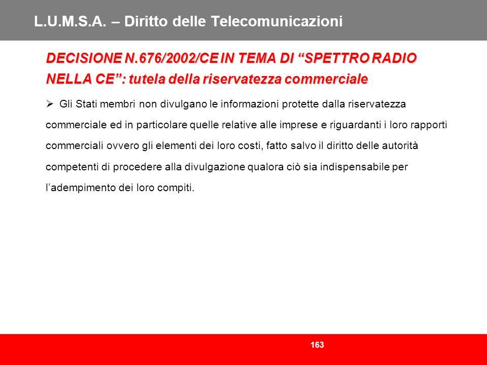 163 L.U.M.S.A. – Diritto delle Telecomunicazioni DECISIONE N.676/2002/CE IN TEMA DI SPETTRO RADIO NELLA CE: tutela della riservatezza commerciale Gli