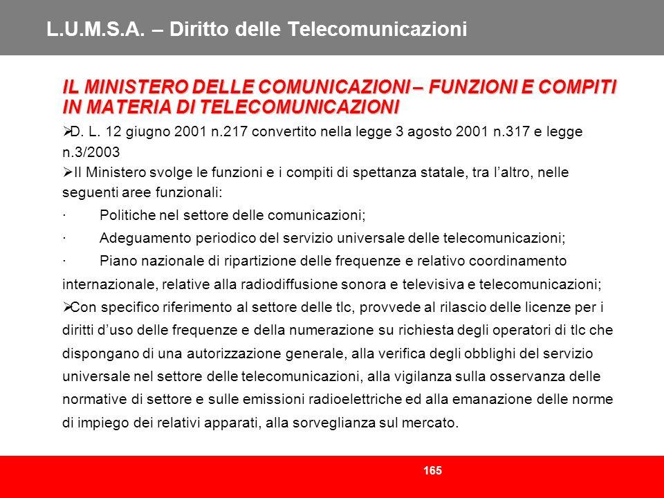 165 L.U.M.S.A. – Diritto delle Telecomunicazioni IL MINISTERO DELLE COMUNICAZIONI – FUNZIONI E COMPITI IN MATERIA DI TELECOMUNICAZIONI D. L. 12 giugno
