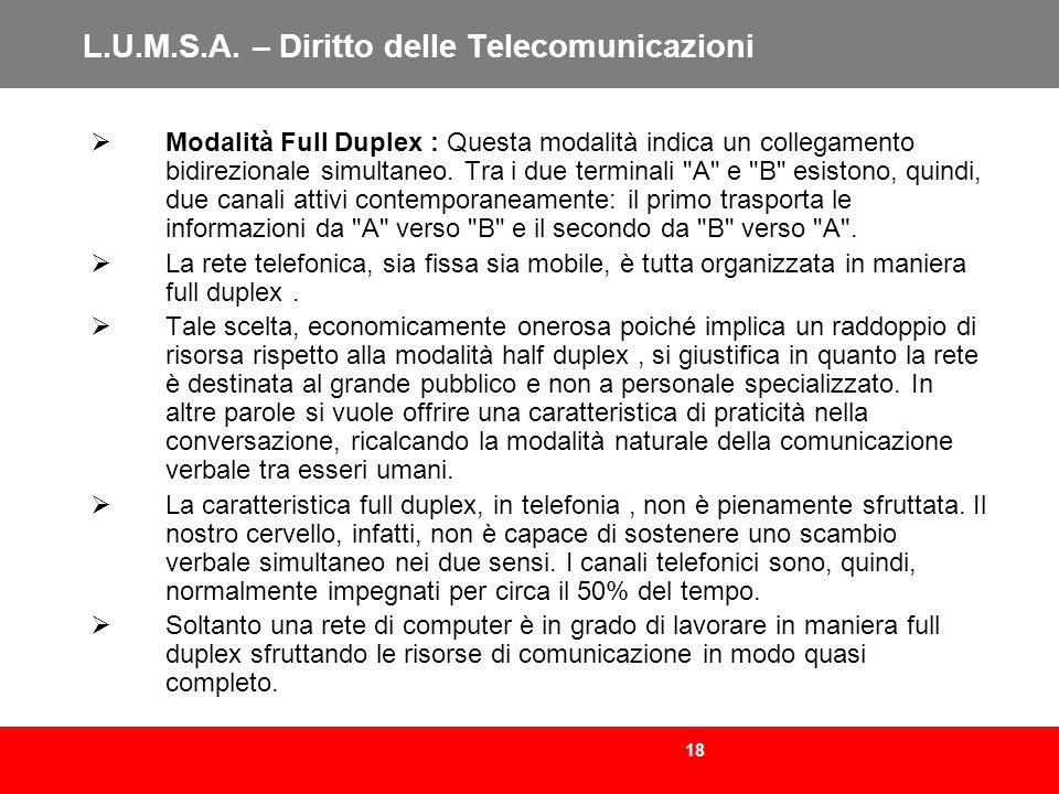 18 L.U.M.S.A. – Diritto delle Telecomunicazioni Modalità Full Duplex : Questa modalità indica un collegamento bidirezionale simultaneo. Tra i due term