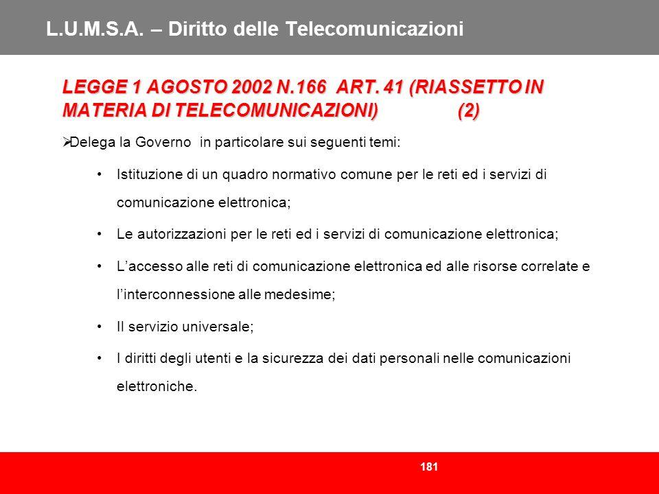 181 L.U.M.S.A. – Diritto delle Telecomunicazioni LEGGE 1 AGOSTO 2002 N.166 ART. 41 (RIASSETTO IN MATERIA DI TELECOMUNICAZIONI)(2) Delega la Governo in