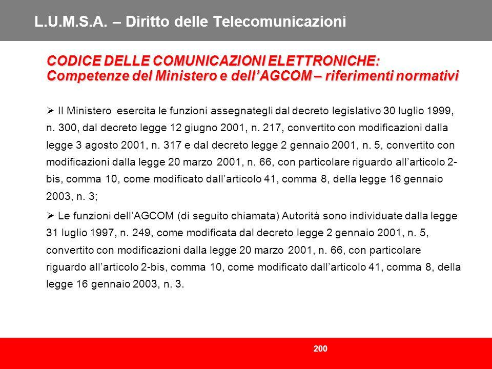 200 L.U.M.S.A. – Diritto delle Telecomunicazioni CODICE DELLE COMUNICAZIONI ELETTRONICHE: Competenze del Ministero e dellAGCOM – riferimenti normativi