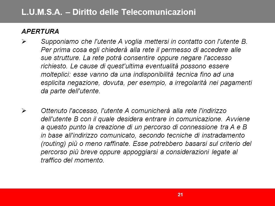 21 L.U.M.S.A. – Diritto delle Telecomunicazioni APERTURA Supponiamo che l'utente A voglia mettersi in contatto con l'utente B. Per prima cosa egli chi