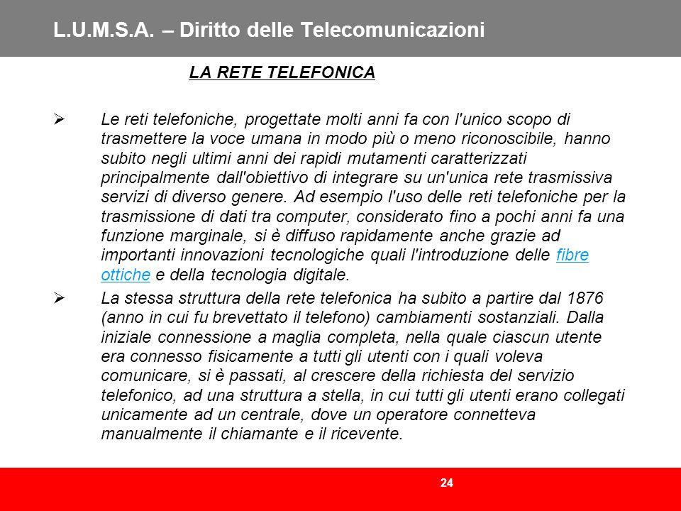 24 L.U.M.S.A. – Diritto delle Telecomunicazioni LA RETE TELEFONICA Le reti telefoniche, progettate molti anni fa con l'unico scopo di trasmettere la v