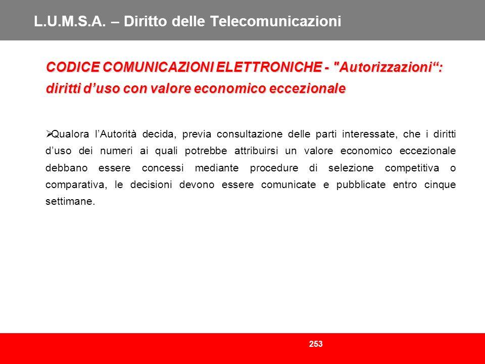 253 L.U.M.S.A. – Diritto delle Telecomunicazioni CODICE COMUNICAZIONI ELETTRONICHE -