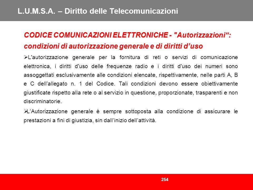 254 L.U.M.S.A. – Diritto delle Telecomunicazioni CODICE COMUNICAZIONI ELETTRONICHE -