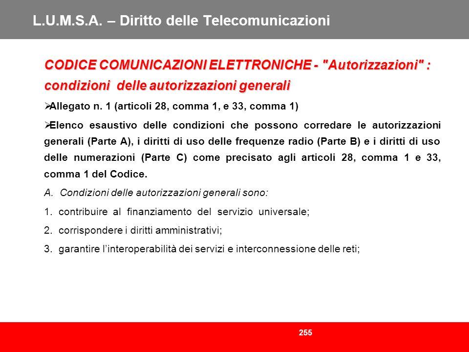 255 L.U.M.S.A. – Diritto delle Telecomunicazioni CODICE COMUNICAZIONI ELETTRONICHE -