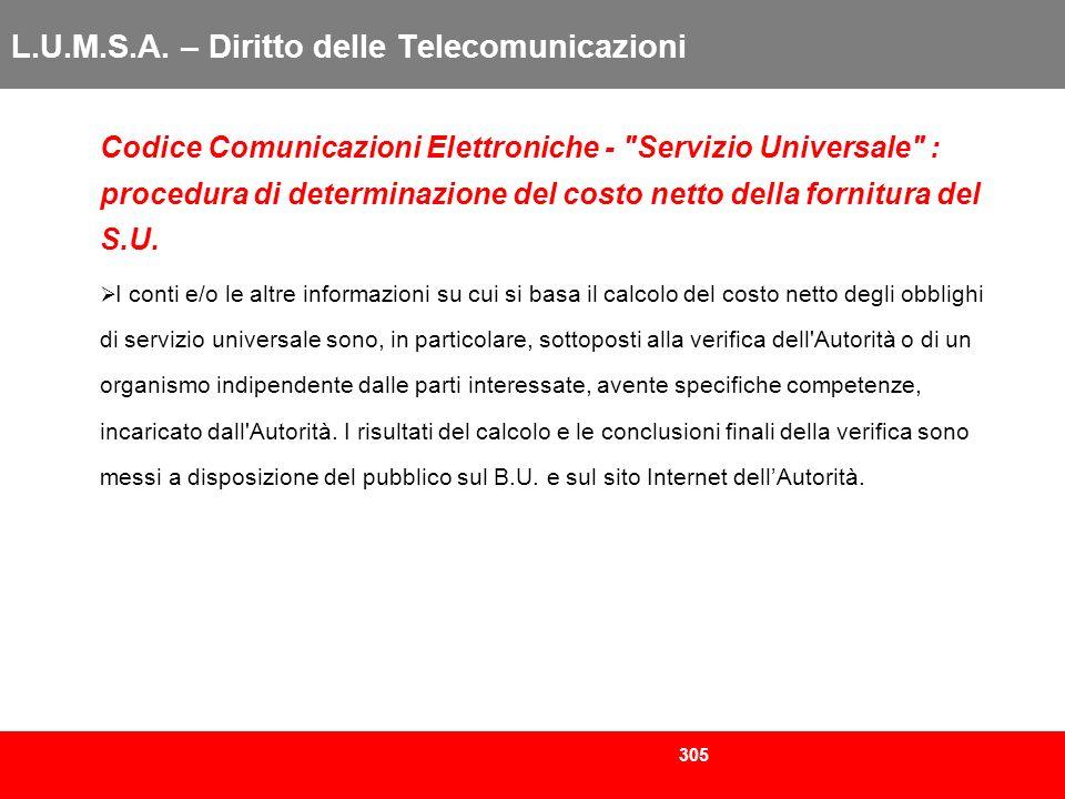 305 L.U.M.S.A. – Diritto delle Telecomunicazioni Codice Comunicazioni Elettroniche -