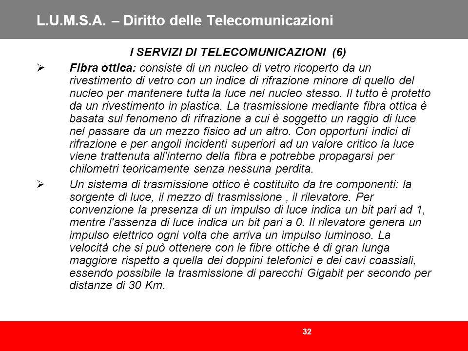 32 L.U.M.S.A. – Diritto delle Telecomunicazioni I SERVIZI DI TELECOMUNICAZIONI (6) Fibra ottica: consiste di un nucleo di vetro ricoperto da un rivest