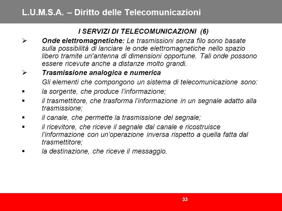 33 L.U.M.S.A. – Diritto delle Telecomunicazioni I SERVIZI DI TELECOMUNICAZIONI (6) Onde elettromagnetiche: Le trasmissioni senza filo sono basate sull