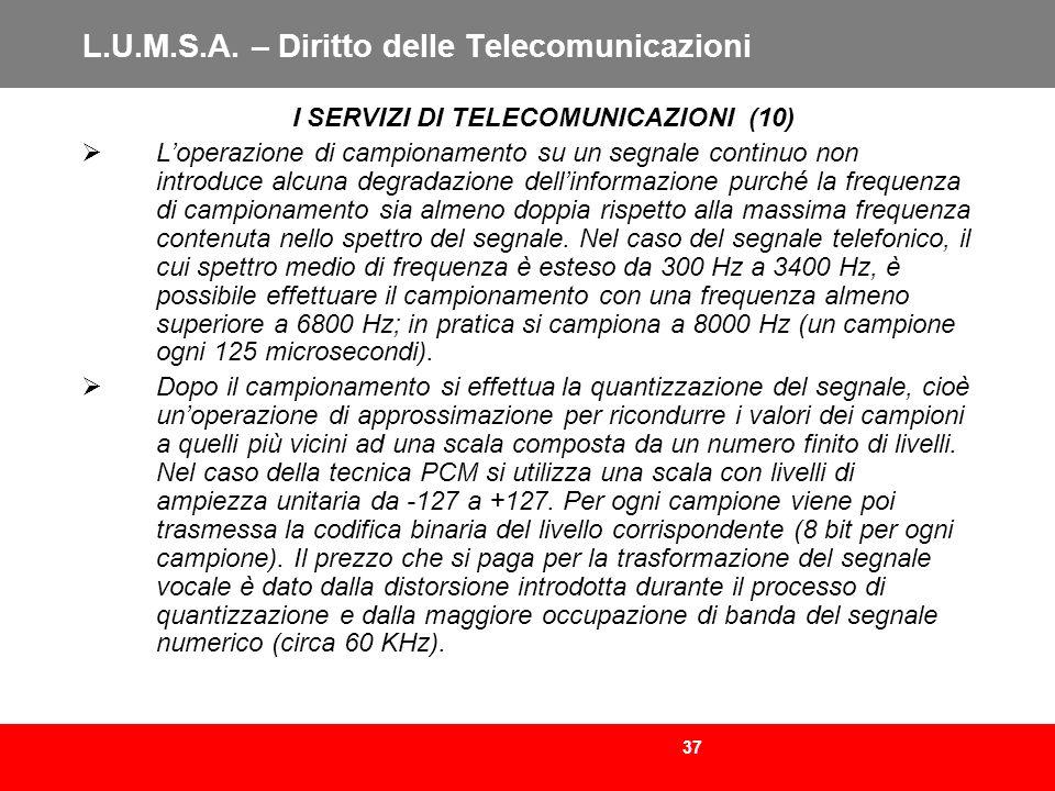 37 L.U.M.S.A. – Diritto delle Telecomunicazioni I SERVIZI DI TELECOMUNICAZIONI (10) Loperazione di campionamento su un segnale continuo non introduce