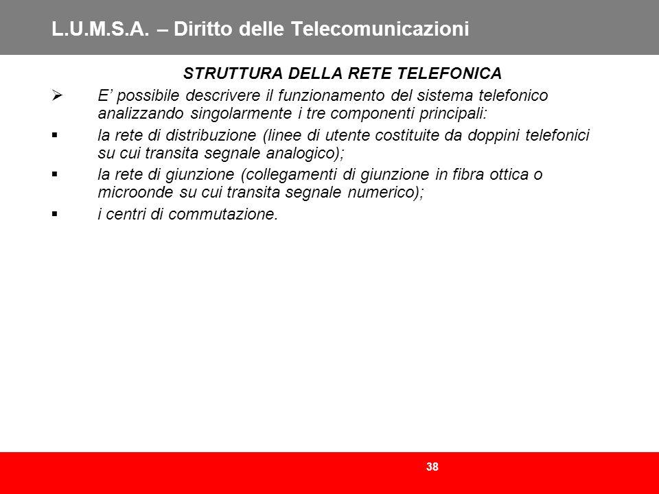 38 L.U.M.S.A. – Diritto delle Telecomunicazioni STRUTTURA DELLA RETE TELEFONICA E possibile descrivere il funzionamento del sistema telefonico analizz
