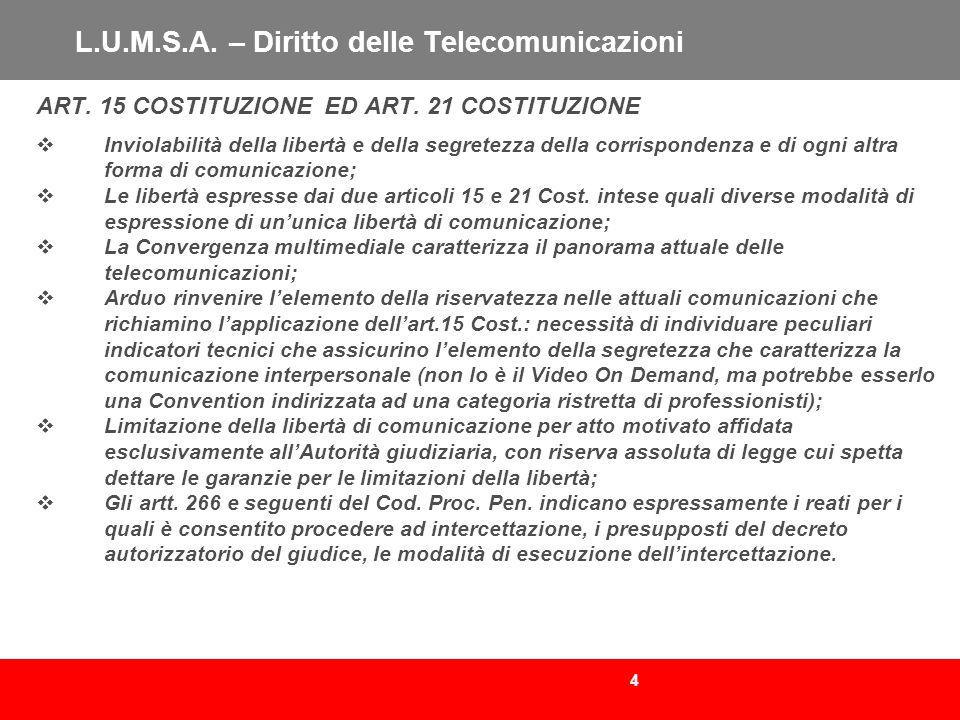 4 L.U.M.S.A. – Diritto delle Telecomunicazioni ART. 15 COSTITUZIONE ED ART. 21 COSTITUZIONE Inviolabilità della libertà e della segretezza della corri