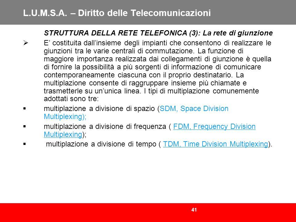 41 L.U.M.S.A. – Diritto delle Telecomunicazioni STRUTTURA DELLA RETE TELEFONICA (3): La rete di giunzione E costituita dallinsieme degli impianti che