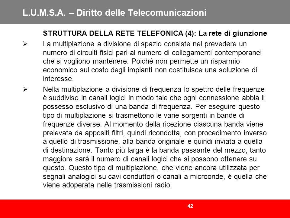 42 L.U.M.S.A. – Diritto delle Telecomunicazioni STRUTTURA DELLA RETE TELEFONICA (4): La rete di giunzione La multiplazione a divisione di spazio consi
