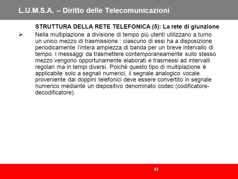 43 L.U.M.S.A. – Diritto delle Telecomunicazioni STRUTTURA DELLA RETE TELEFONICA (5): La rete di giunzione Nella multiplazione a divisione di tempo più