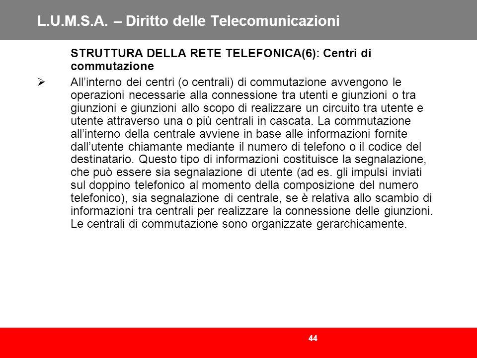 44 L.U.M.S.A. – Diritto delle Telecomunicazioni STRUTTURA DELLA RETE TELEFONICA(6): Centri di commutazione Allinterno dei centri (o centrali) di commu