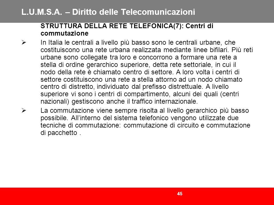 45 L.U.M.S.A. – Diritto delle Telecomunicazioni STRUTTURA DELLA RETE TELEFONICA(7): Centri di commutazione In Italia le centrali a livello più basso s