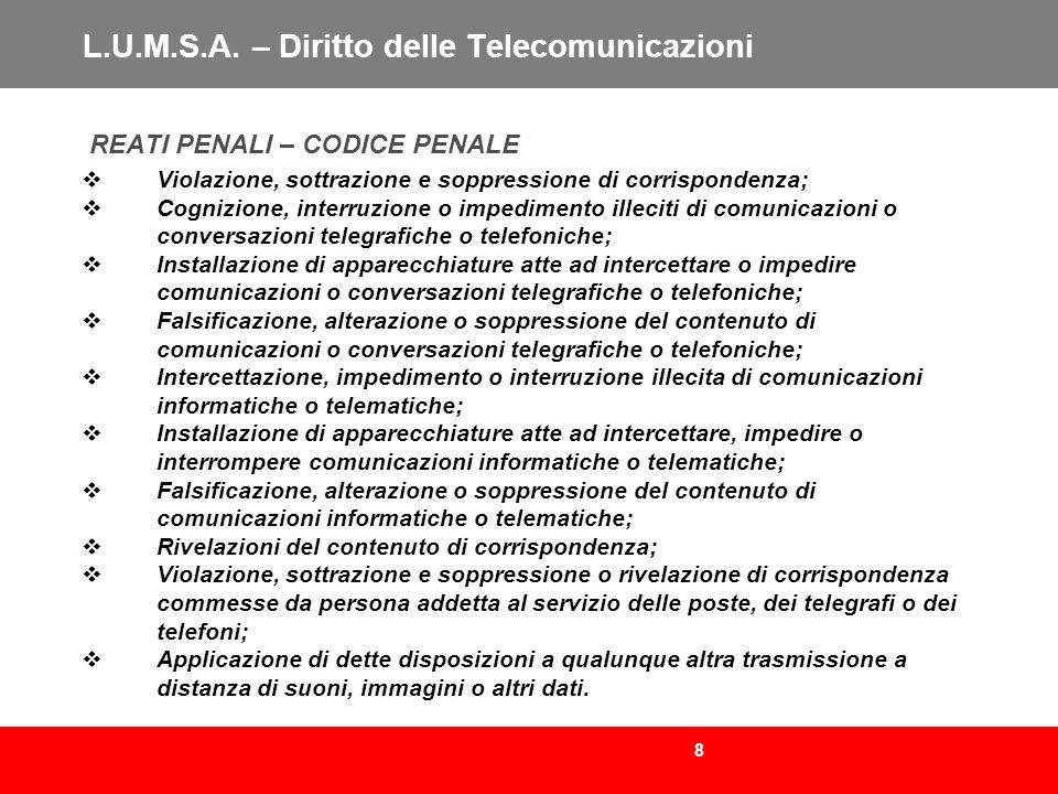 8 L.U.M.S.A. – Diritto delle Telecomunicazioni REATI PENALI – CODICE PENALE Violazione, sottrazione e soppressione di corrispondenza; Cognizione, inte