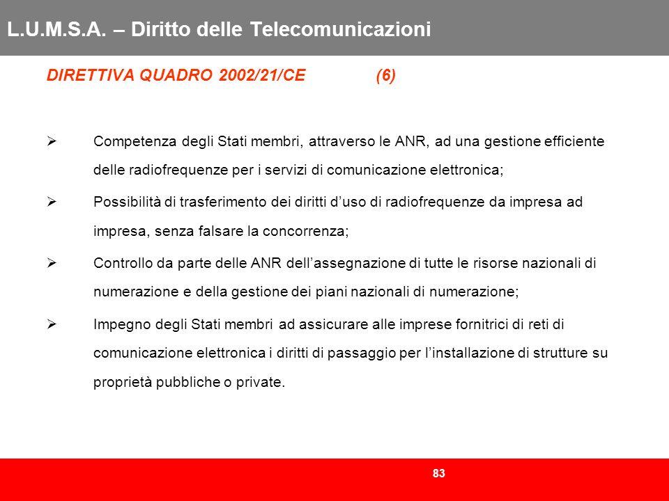83 L.U.M.S.A. – Diritto delle Telecomunicazioni DIRETTIVA QUADRO 2002/21/CE (6) Competenza degli Stati membri, attraverso le ANR, ad una gestione effi