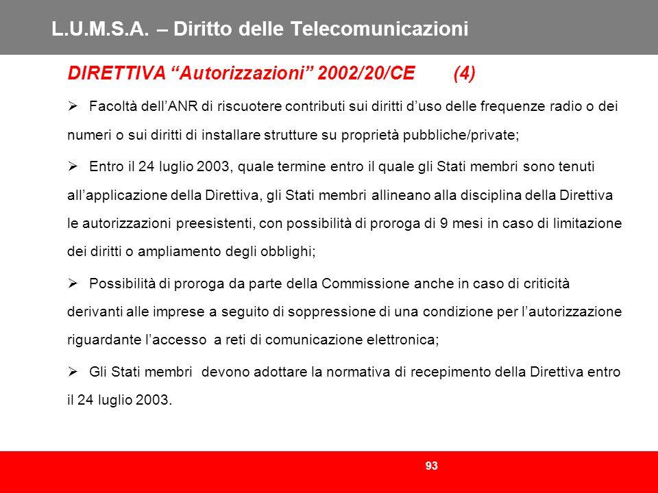 93 L.U.M.S.A. – Diritto delle Telecomunicazioni DIRETTIVA Autorizzazioni 2002/20/CE (4) Facoltà dellANR di riscuotere contributi sui diritti duso dell