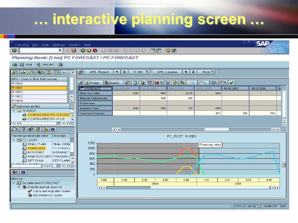 … interactive planning screen …
