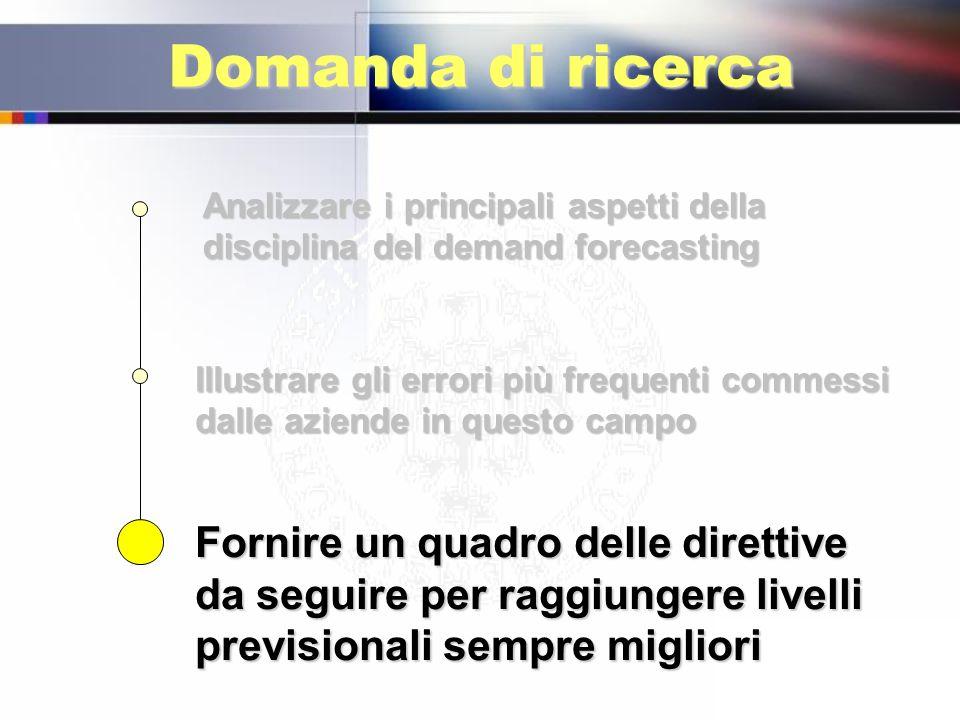 Domanda di ricerca Analizzare i principali aspetti della disciplina del demand forecasting Illustrare gli errori più frequenti commessi dalle aziende