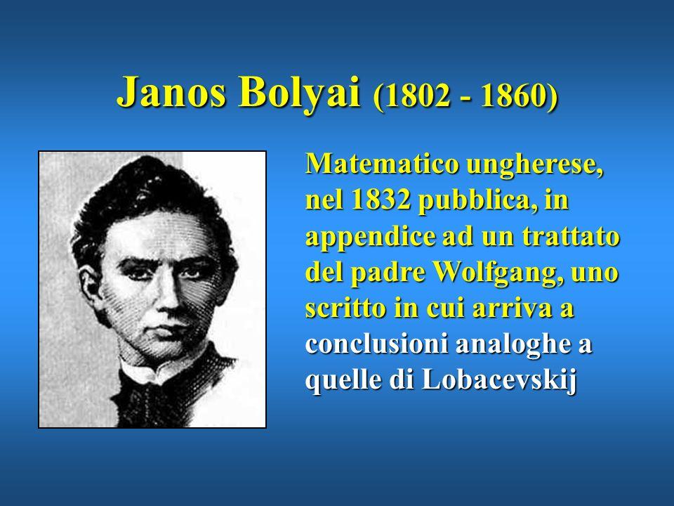 Procedendo con metodo deduttivo, Lobacevskij deriva una geometria del tutto logica e priva di contraddizioni, oggi detta Geometria di Lobacevskij - Bo