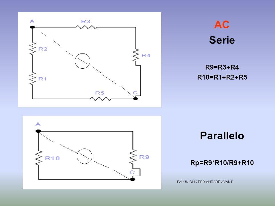 AD Serie R7=R3+R4+R5 R8=R1+R2 Parallelo Rp=R8*R7/R8+R7 FAI UN CLIK PER ANDARE AVANTI