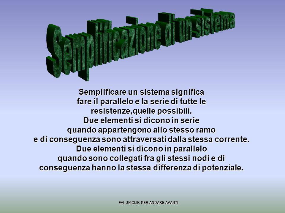Semplificare un sistema significa fare il parallelo e la serie di tutte le resistenze,quelle possibili.