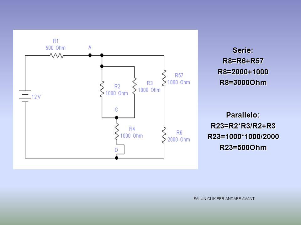 E=12VR1=100OhmR2=R3=R4=1000OhmR5=R6=R7=2000OhmParallelo:R57=R5*R7/R5+R7R57=2000*2000/4000R57=1000Ohm FAI UN CLIK PER ANDARE AVANTI