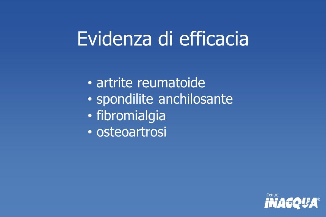Evidenza di efficacia artrite reumatoide spondilite anchilosante fibromialgia osteoartrosi