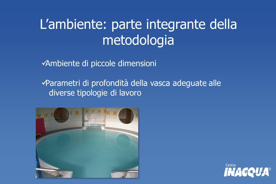 Lambiente: parte integrante della metodologia Ambiente di piccole dimensioni Parametri di profondità della vasca adeguate alle diverse tipologie di la