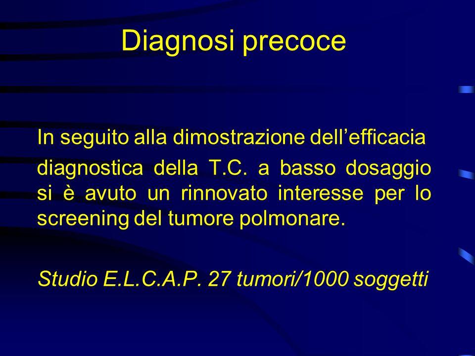 Diagnosi precoce In seguito alla dimostrazione dellefficacia diagnostica della T.C. a basso dosaggio si è avuto un rinnovato interesse per lo screenin