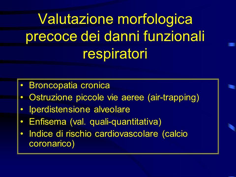 Valutazione morfologica precoce dei danni funzionali respiratori Broncopatia cronica Ostruzione piccole vie aeree (air-trapping) Iperdistensione alveo