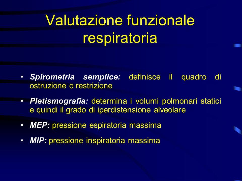 Valutazione funzionale respiratoria Spirometria semplice: definisce il quadro di ostruzione o restrizione Pletismografia: determina i volumi polmonari