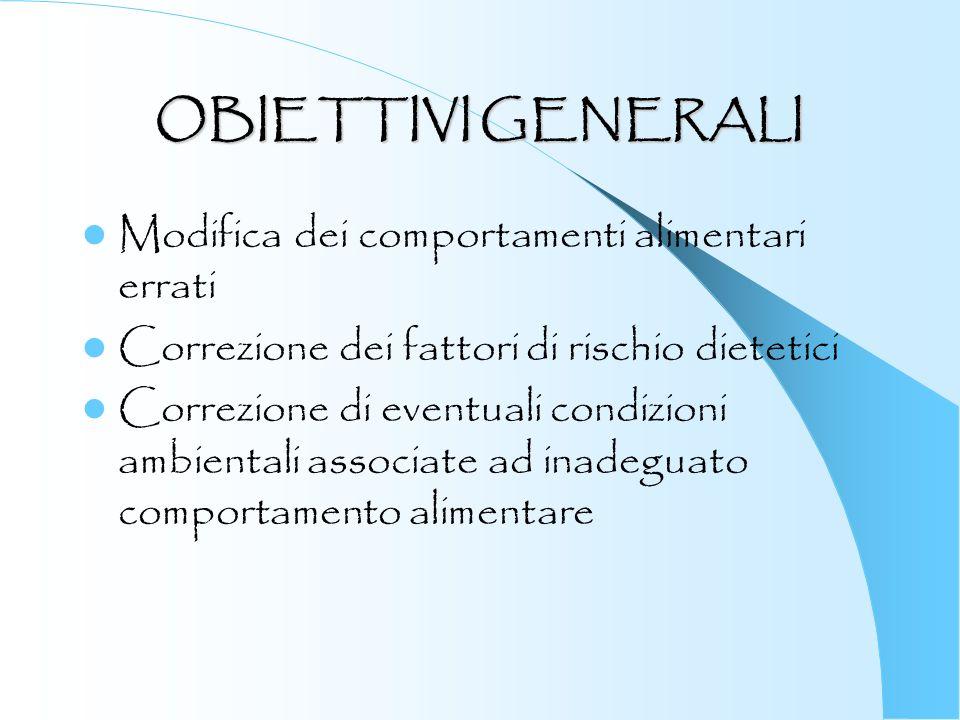 OBIETTIVI GENERALI Modifica dei comportamenti alimentari errati Correzione dei fattori di rischio dietetici Correzione di eventuali condizioni ambient