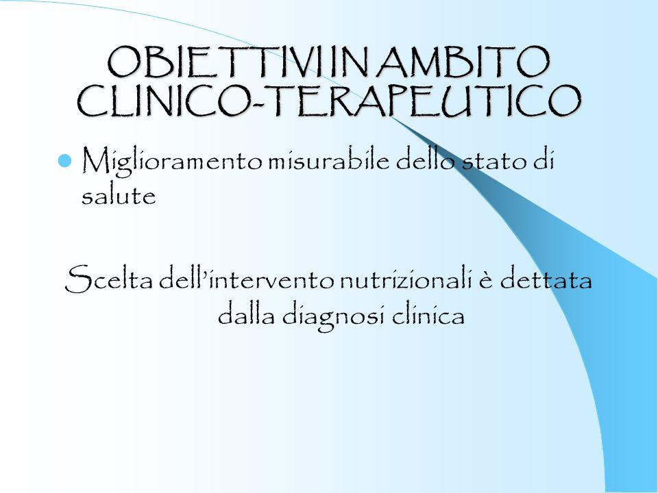 OBIETTIVI IN AMBITO CLINICO-TERAPEUTICO Miglioramento misurabile dello stato di salute Scelta dellintervento nutrizionali è dettata dalla diagnosi cli
