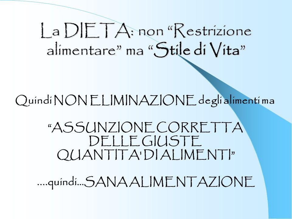 La DIETA: non Restrizione alimentare ma Stile di Vita Quindi NON ELIMINAZIONE degli alimenti ma ASSUNZIONE CORRETTA DELLE GIUSTE QUANTITA' DI ALIMENTI